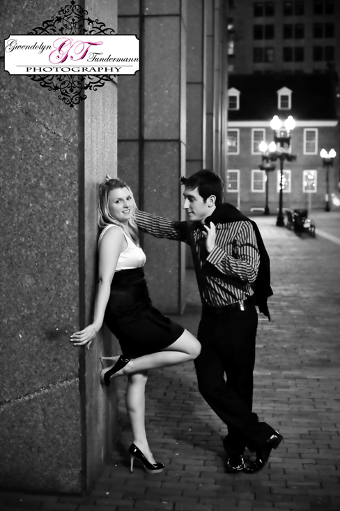 Downtown Boston engagement photos at Quincy Market