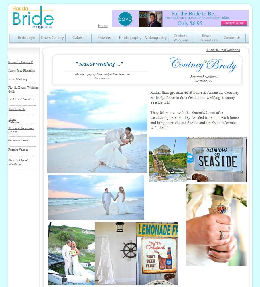 Seaside wedding photos featured on Florida Bride