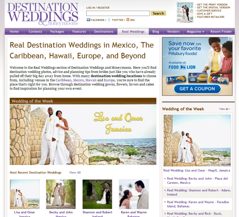 Destination Weddings & Honeymoons - Wedding of the Week April 2012