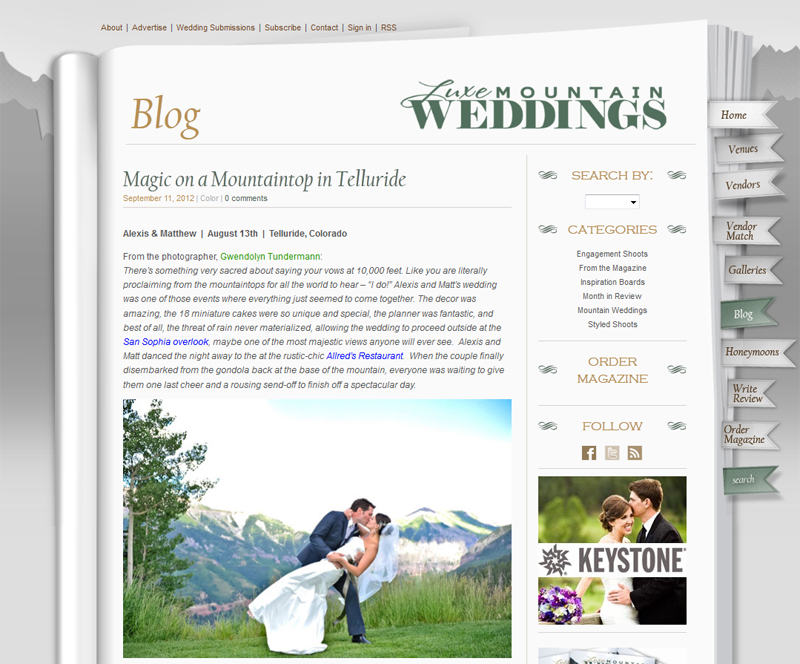 Telluride wedding photos featured  on Luxe Mountain Weddings
