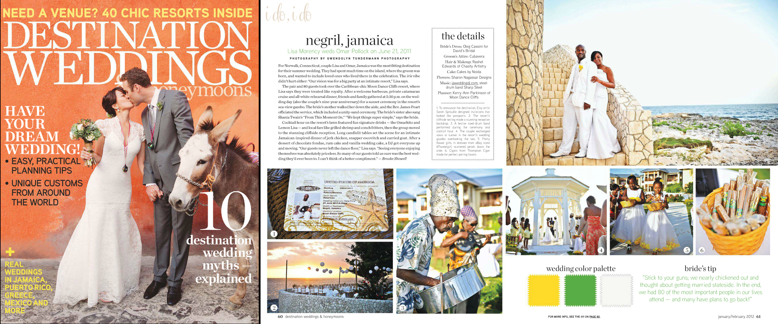 Destination Weddings & Honeymoons - Jan 2012 Cover and Spread